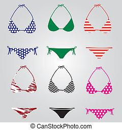 bikini, plavky, vybírání, eps10