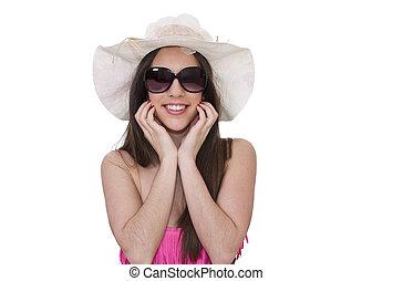 bikini, ragazza, occhiali da sole, bianco