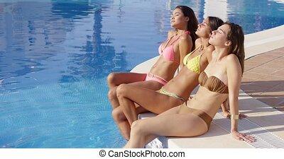 bikini, słońce, młody, trzy, kochający, kobiety