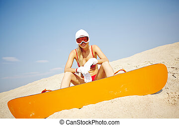 bikini, sandboarder