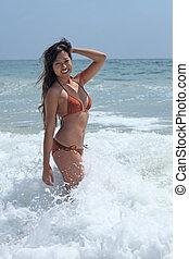 bikini, spiaggia, asiatico, bellezza