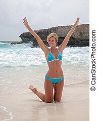 bikini, spiaggia, ragazza, mare