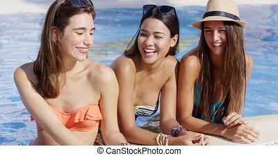 bikini, trzy, młody, wspaniały, przyjacielski, kobiety