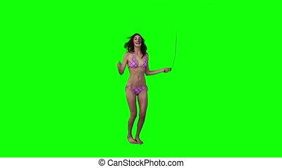 bikini, używając, kobieta, związać, skaczący