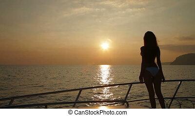 Woman Enjoying Yacht Vacation - Bikini Woman Enjoying Yacht...