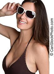 bikini, zonnebrillen, meisje