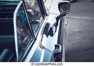 bil, årgång, spegel, sida, baksidaen beskådar