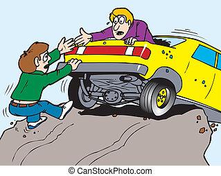 bil, över, klippa