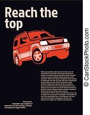 bil, annons, poster., röd, suv, på, svart fond, med, prov, text