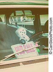 bil, avbild, realisation signera, fönster, retro, designa