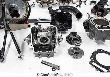 bil benar, sports, parts., nymodig, tabell., montering, engine., mäktig, fordon, samlingen, motor