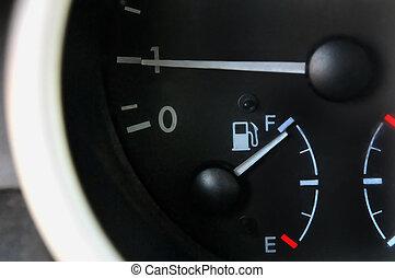 bil, bensin, bränslemätare