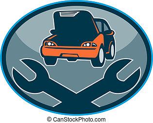 bil, bil, sammanbrott, mekanisk, reparera, med, skruvnyckel