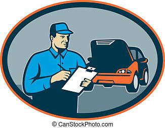 bil, bilen reparerar, mekaniker, med, skrivplatta, sätta,...