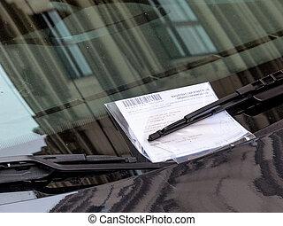 bil, biljett, fortkörning