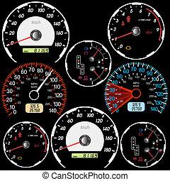 bil biltävlingar, hastighetsmätare, sätta, design.