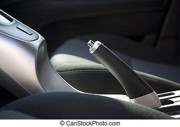 bil, bromsa, detaljerna, hand