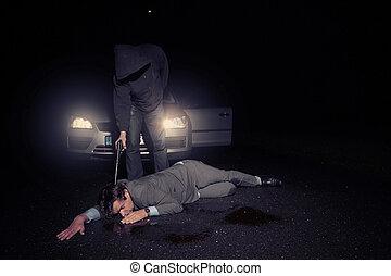 bil, chaufför, shooted, av, man, in, övertäck, svärta...