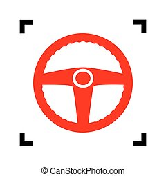bil, chaufför, skylt., vector., röd, ikon, insida, svart, fokusera, hörnen, vita, bakgrund., isolated.