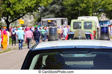 bil, demonstration, polis, under, folk