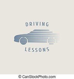 bil, drivande, skola, vektor, logo, underteckna, emblem