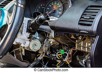 bil, elektrisk, repair.