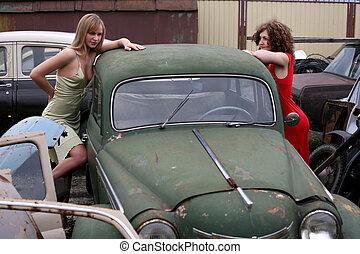 bil, flickor, årgång