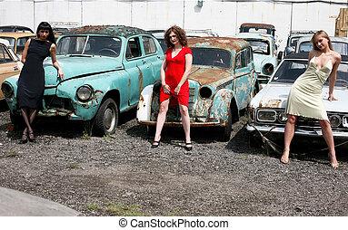 bil, flickor, tre, årgång