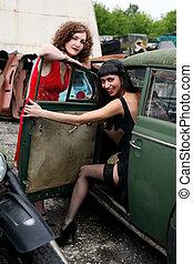 bil, flickor, två, årgång