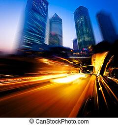 bil, fortkörning, genom, stad