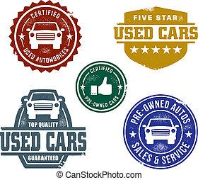 bil, frimärken, använd, försäljningarna