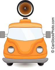 bil, gammal, högtalare, gul