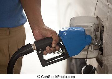 bil, gas pumpa, återfylla