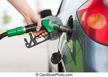 bil, gas, pumpa, station, drivmedel, bensin, man