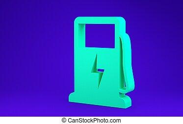 bil, grön, 3, drivmedel, bakgrund., ikon, blå, pump, elektrisk, minimalism, render, laddning, concept., isolerat, station, skylt., illustration, eco