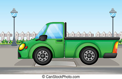 bil, grön