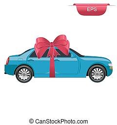 bil, grafik formge, överraskning, gåva