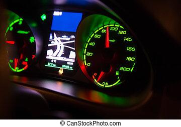 bil, hastighetsmätare, instrumentbräda