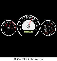 bil, hastighetsmätare, och, instrumentbräda, hos, night.,...