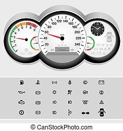 bil, hastighetsmätare, panel