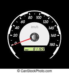 bil, hastighetsmätare, tävlings-, design.