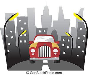 bil, i staden