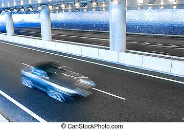 bil, in, tunnelbana, motorväg tunnel