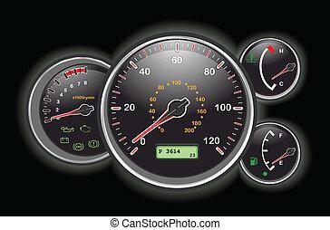 bil, instrumentbräda, hastighetsmätare