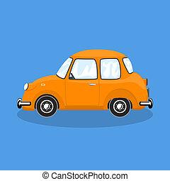 bil, isolerat, bakgrund, färgrik, retro