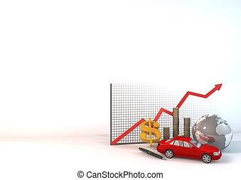 bil, kartlägga, bakgrund, röd, aktiva