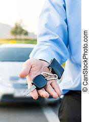 bil, keys., säljare, hand, ge sig, stämm