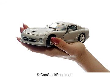 bil, leksak, på, palm
