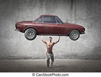 bil, lyftande, man