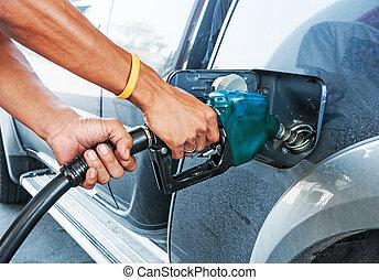 bil, man, drivmedel, bensin, pumpa, station, gas